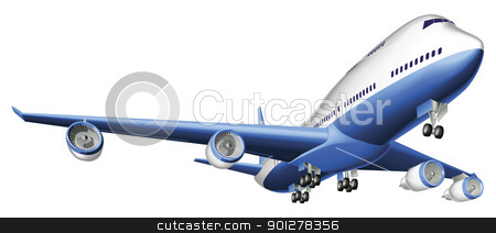 Illustration of a large passenger plane stock vector clipart, An Illustration of a large passenger plane by Christos Georghiou