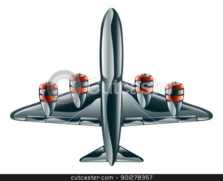 Glossy aeroplane stock vector clipart, A glossy metallic passenger commercial aeroplane icon illustration.  by Christos Georghiou