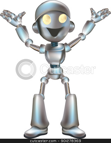 cute robot illustration stock vector clipart, A very cute robot character, available in several poses  by Christos Georghiou