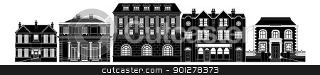 Posh smart row of buildings stock vector clipart, A very smart expensive luxurious row of Edwardian, Victorian and Georgian houses and other buildings by Christos Georghiou