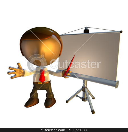 3d business man character with presentation equipment stock photo, 3d business man character standing with presentation equipment or screen     by Christos Georghiou
