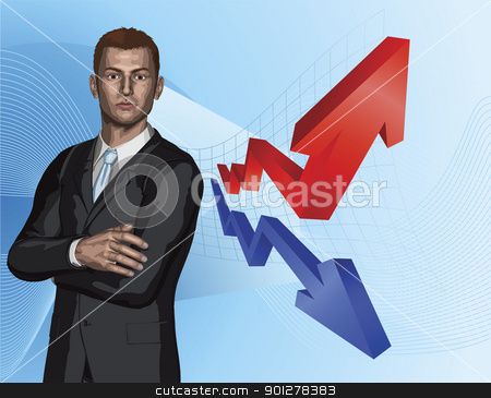 Businessman abstract arrow graph background stock vector clipart, Confident young businessman in front of abstract arrow graph background concept by Christos Georghiou