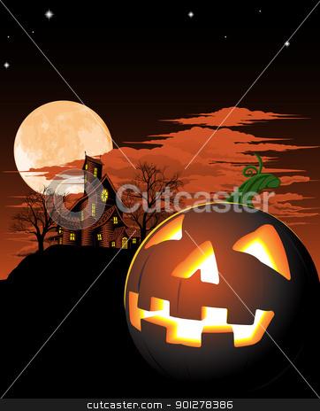 Halloween pumpkin background stock vector clipart, A haunted house and pumpkin Halloween background by Christos Georghiou