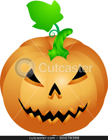 halloween pumpkin illustration stock vector clipart, an illustration of a halloween pumpkin with a face sculpted in it  by Christos Georghiou