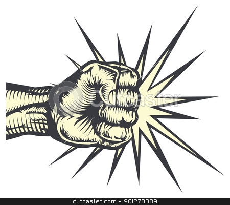 Fist punching stock vector clipart, A fist punching out striking or hitting with impact lines by Christos Georghiou