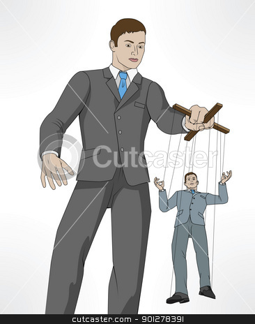 Controlling business puppet concept stock vector clipart, Conceptual illustration. Business man controlling other business man like a puppet on a string. by Christos Georghiou