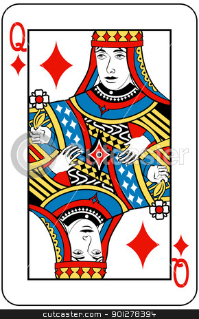 queen of diamonds stock vector clipart, Queen of Diamonds playing card by Christos Georghiou