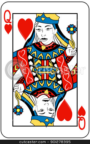 queen of hearts stock vector clipart, Queen of Hearts playing card by Christos Georghiou