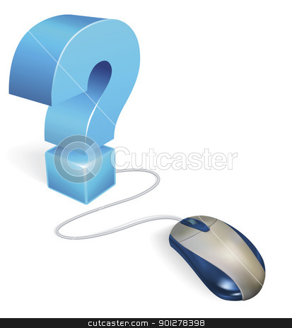 Computer mouse and question mark concept stock vector clipart, A computer mouse connected to a question mark. Internet concept for a faq section or online help by Christos Georghiou