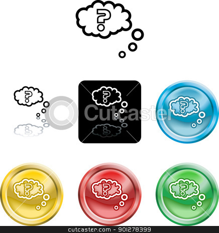 Question query icon symbol stock vector clipart, Several versions of an icon symbol of a stylised question mark in thought bubble  by Christos Georghiou