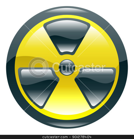 Glossy shint radiation symbol icon stock vector clipart, A glossy shiny radiation symbol icon illustration  by Christos Georghiou