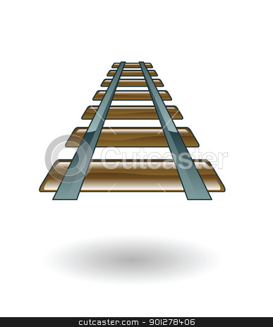 rail track illustration stock vector clipart, Illustration of a railroad by Christos Georghiou