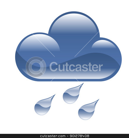 rain illustration stock vector clipart, Illustration of rain cloud  by Christos Georghiou
