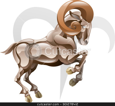 Aries the ram star sign stock vector clipart, Illustration representing Aries the ram star or birth sign. Includes the symbol or icon in the background by Christos Georghiou