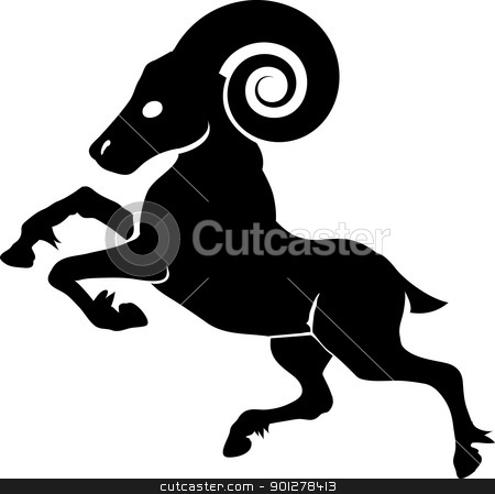 ram illustration stock vector clipart, Monochrome vector illustration of a stylised ram  by Christos Georghiou