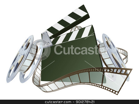 Film clapperboard and movie film reels stock vector clipart, A clapperboard and film spooling out of film reel illustration. Dynamic perspective and copyspace on the board for your text. by Christos Georghiou
