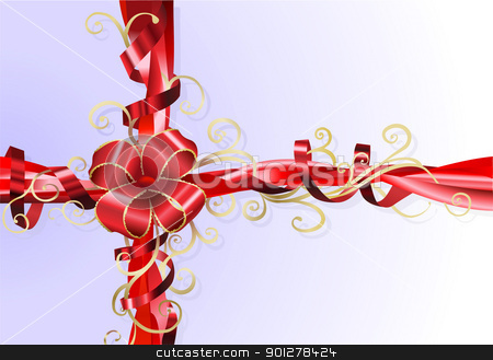 Gift ribbon and bow background stock vector clipart,  An Illustration of an abstract stylised gift ribbon and bow background.  by Christos Georghiou