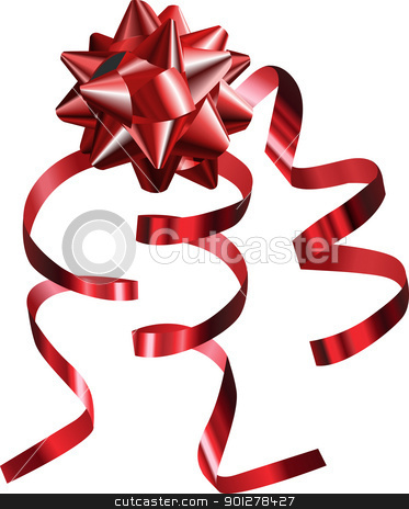  illustration of a pretty shiny red bow with ribbons stock vector clipart, A vector illustration of a pretty shiny red bow with ribbons by Christos Georghiou