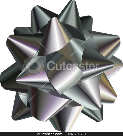 pretty silver bow stock vector clipart, A vector illustration of a pretty silver bow by Christos Georghiou