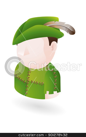 robinhood outlaw illustration stock vector clipart, Illustration of Robin Hood style outlaw by Christos Georghiou