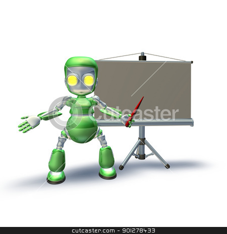 A cute 3d robot character giving presentation stock photo, A cute 3d robot character standing with presentation equipment and projection roller screen pointing to the presentation. by Christos Georghiou