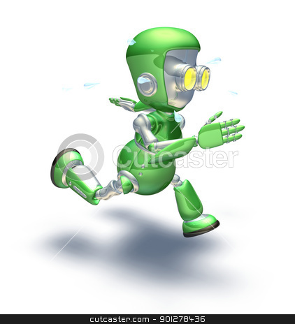 Cute green metal robot character running a sprint stock photo, A cute green glossy shiny silver metallic robot character exerting himself by running very hard and fast. He is sweating with perspiration flying off in drops. by Christos Georghiou