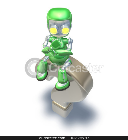 Confused Question Mark Cute Green Metal Robot  stock photo, Confused cute green metal robot character sitting on top of a giant question mark thinking. by Christos Georghiou