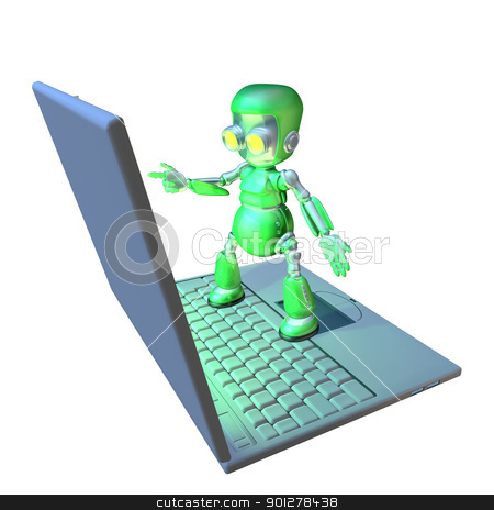 Cute 3d robot character standing on a laptop stock photo, Cute shiny 3d robot character using a giant laptop pointing at the screen. by Christos Georghiou