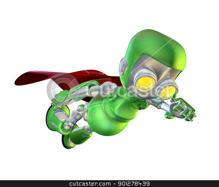 Cute green metal robot superhero character stock photo,  A cute green glossy shiny silver metallic superhero super hero robot character flying through the air with a red cape in a classic superhero pose.  by Christos Georghiou