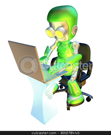 3d cute green robot character using laptop pc stock photo, A 3d green robot mascot illustration of a cute green robot character sitting in an office chair with using a pc laptop at desk  by Christos Georghiou