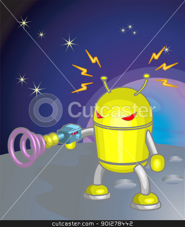 robot moon illustration stock vector clipart, robot  by Christos Georghiou