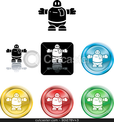 robot icon symbol stock vector clipart, Several versions of an icon symbol of a stylised robot  by Christos Georghiou