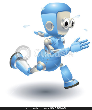 Cute blue robot character running stock vector clipart, A cute blue robot character running very fast and sweating by Christos Georghiou