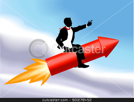 rocket business man concept illustration stock vector clipart, A business man sitting astride a rocket and flying through the air. No meshes used.  by Christos Georghiou