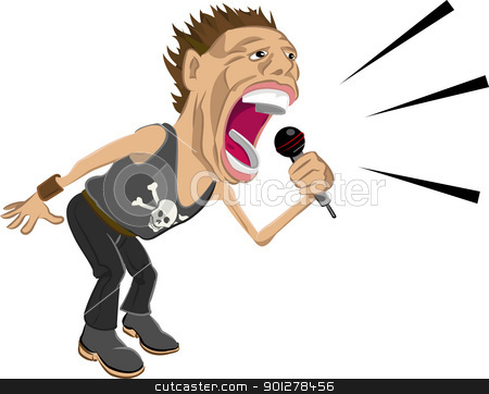 rockstar illustration stock vector clipart, a rockstar screaming into a mic.  by Christos Georghiou