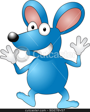 mouse or rat character stock vector clipart, A vector illustration of a cartoon mouse waving  by Christos Georghiou