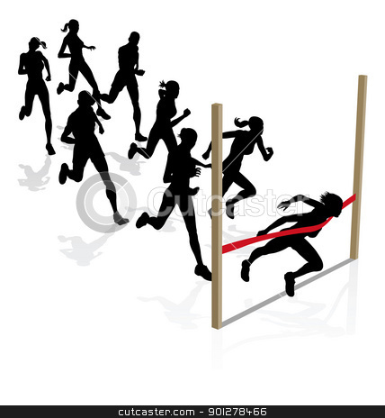 Winning the race stock vector clipart, A runner wins the race breaking through the finishing tape by Christos Georghiou