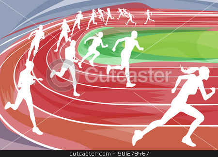 Running Race on Track stock vector clipart, Illustration background of runners sprinting in a race around the track by Christos Georghiou