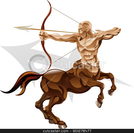 Sagittarius the archer star sign stock vector clipart, Illustration representing sagittarius the archer star or birth sign. Includes the symbol or icon in the background by Christos Georghiou