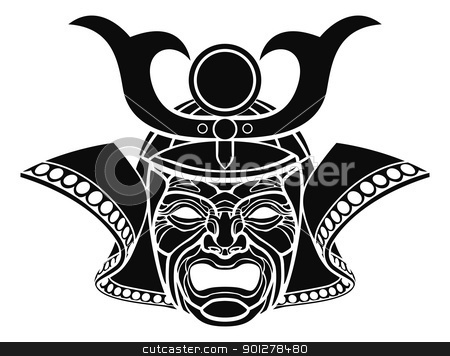 Fearsome samurai mask stock vector clipart, An illustration of a fearsome monochrome samurai mask by Christos Georghiou