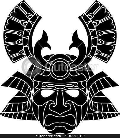 Monochrome samurai mask stock vector clipart,  An illustration of a fearsome monochrome samurai mask   by Christos Georghiou