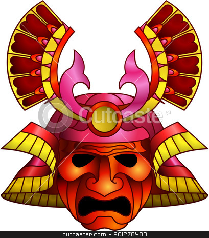 Red samurai mask stock vector clipart, An illustration of a red orange and magenta fearsome samurai mask by Christos Georghiou