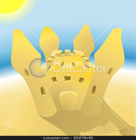 sandcastle illustration stock vector clipart, An illustration of a sandcastle on a sunny beach  by Christos Georghiou