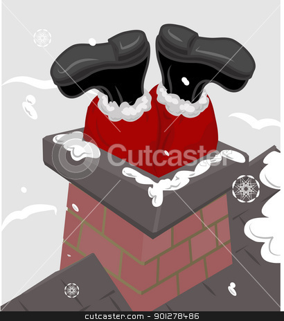 santa chimney illustration stock vector clipart, Santa claus stuck in a chimney.  by Christos Georghiou
