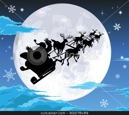 Santa in sled silhouette against full moon stock vector clipart, Santa in his sled silhouetted against the full moon by Christos Georghiou