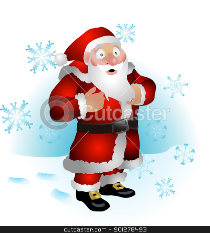 Santa clause  illustration stock vector clipart,  An illustration of Santa clause and snowflakes  by Christos Georghiou