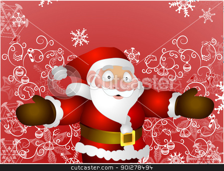 Father Christmas stock vector clipart, Illustration of Santa with christmas background  by Christos Georghiou