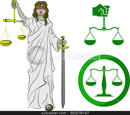 justice stock vector clipart, Lady justice, and two sets of scales.  by Christos Georghiou