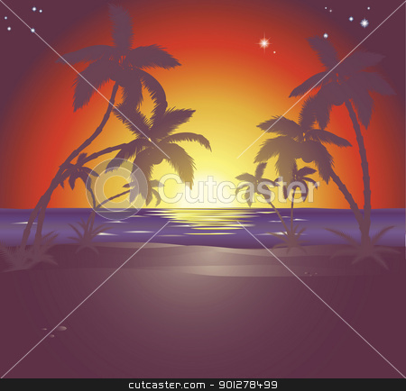 Illustration of a beautiful beach scene at sunset stock vector clipart, An illustration of a beautiful beach scene at sunset by Christos Georghiou