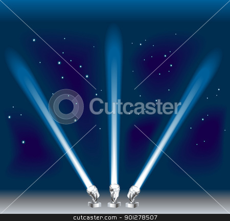 searchlight illustration stock vector clipart, Some search/ spotlights. Shading by blends, no meshes used.  by Christos Georghiou